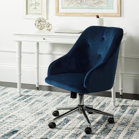 """Safavieh Evelynn Tufted Velvet Chrome Leg Swivel Office Chair - 24"""" x 21.6"""" x 34.5"""""""