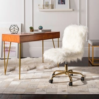 Safavieh Whitney Faux Sheepskin Gold Leg Swivel Office Chair