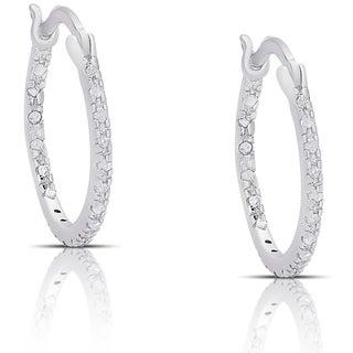 Finesque Sterling Silver 1/4ct TDW Diamond Hoop Earrings (I-J, I2-I3) - White