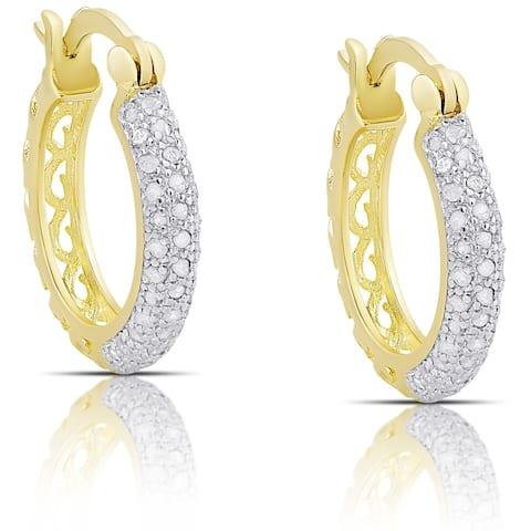 Finesque Sterling Silver 1/2ct TW Diamond Hoop Earrings (I-J, I2-I3) - White