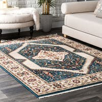 nuLoom Traditional Medallion Cream/ Red/ Blue Border Tassel Area Rug - 8' x 10'