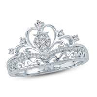 Cali Trove 1/5 Ct Round Diamond Princess Crown With Miligrain Fashion Ring In 10Kt White Gold.
