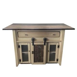 Satin White/ Walnut Finish Solid Pine Wood/ Metal Counter-height Kitchen Island with Barn Door