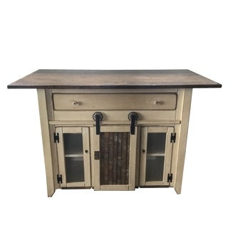 Satin White/ Walnut Finish Solid Pine Wood/ Metal Counter-height Kitchen Island with Barn Door