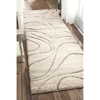 "nuLOOM Luxuries Soft and Plush Curves Cream Shag Runner Rug - 2' 8"" x 12'"