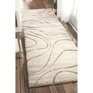 """nuLOOM Luxuries Soft and Plush Curves Cream Shag Runner Rug - 2' 8"""" x 12'"""