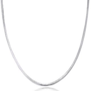 Pori Jewelers 925 Sterling Silver High Polished 0.7 MM Square Snake 015 Chain Necklace