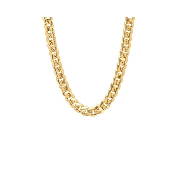 5fa058559 Pori Jewelers 18k gold plated 925 Sterling Silver High Polished 8.4 MM  Miami Cuban 250 Chain