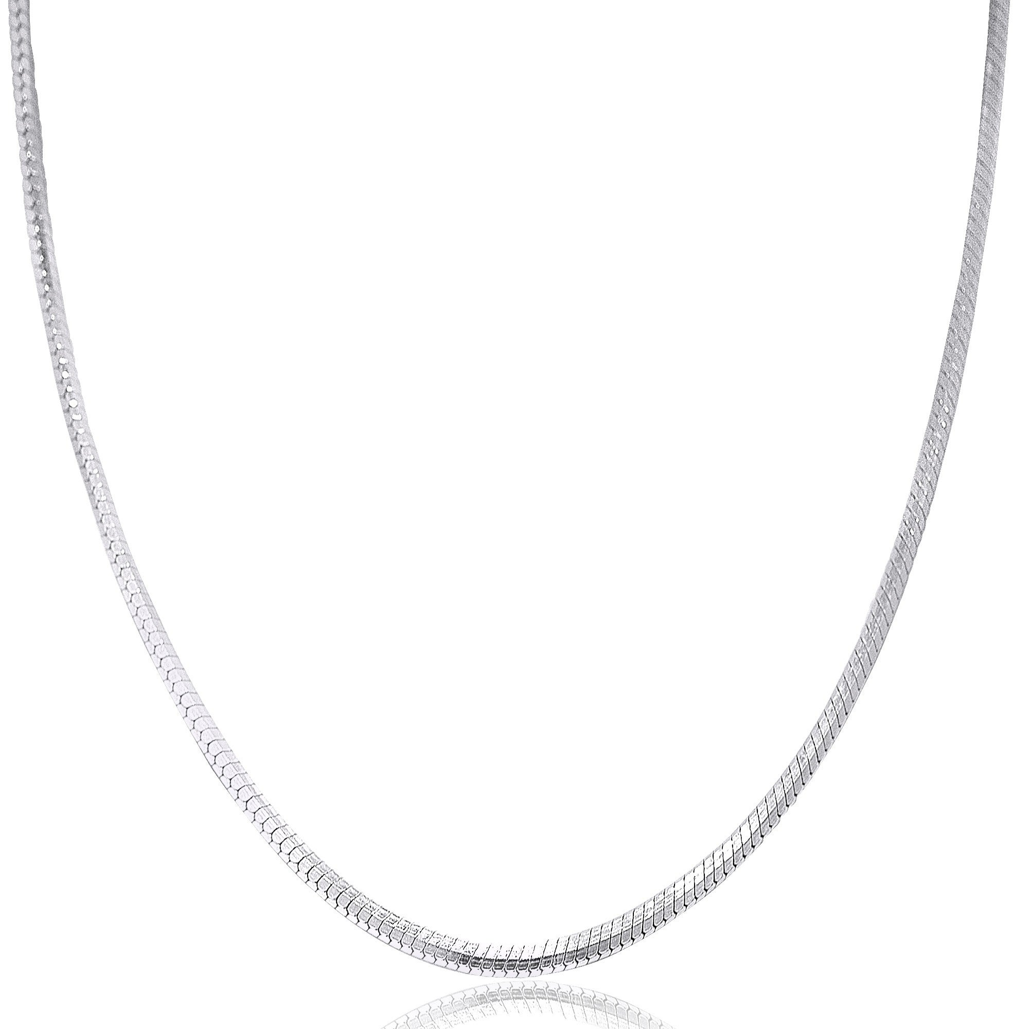"""22/"""" Round Snake .925 Solid Sterling Silver Neck Chain Necklace 1mm MADE IN ITALY"""