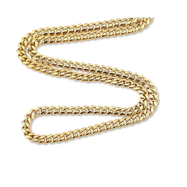 86d06e6d9 Pori Jewelers 18k gold plated 925 Sterling Silver High Polished 7 MM Miami  Cuban 200 Chain