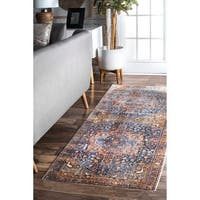 "Gracewood Hollow Lapointe Medallion Border Rust Tassel Runner Rug - 2' 6"" x 8'"
