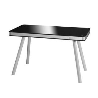 OneSpace 50-JN1405 Black Glass Writing Desk Brushed Aluminum Frame