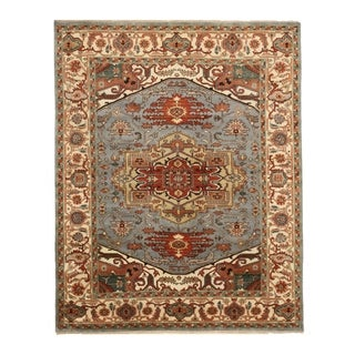 Hand-knotted Wool Blue Traditional Geometric Searpi Rug - 9' x 12'