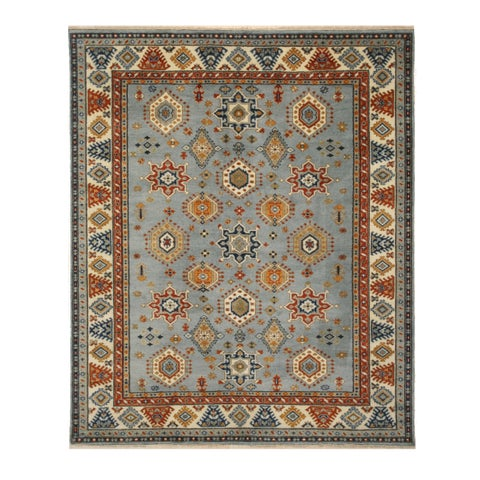 Hand-knotted Wool Ivory Traditional Geometric Searpi Rug - 10' x 14'