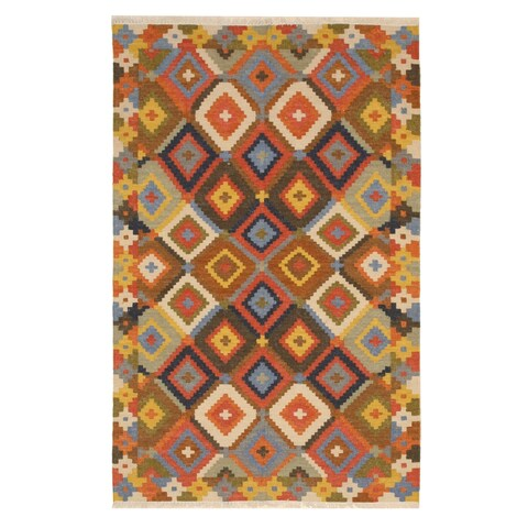 Handmade Wool Multicolored Traditional Geometric Kilim Rug - Multi - 8' x 10'