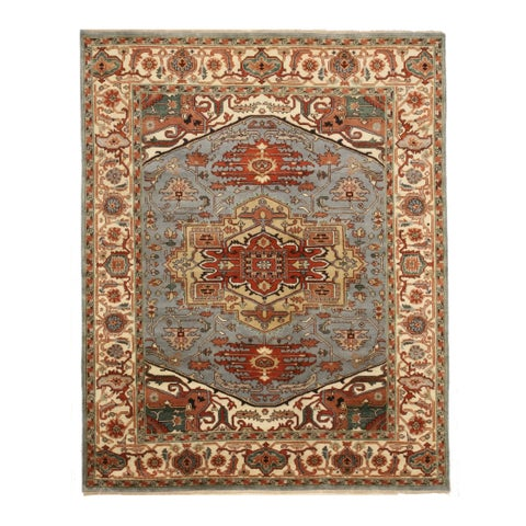 Hand-knotted Wool Blue Traditional Geometric Searpi Rug - 8' x 10'