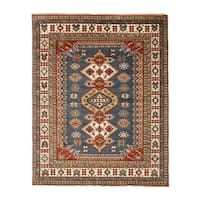 EORC Blue/Multicolor Wool Hand-knotted Geometric Kazak Area Rug - 9' x 12'