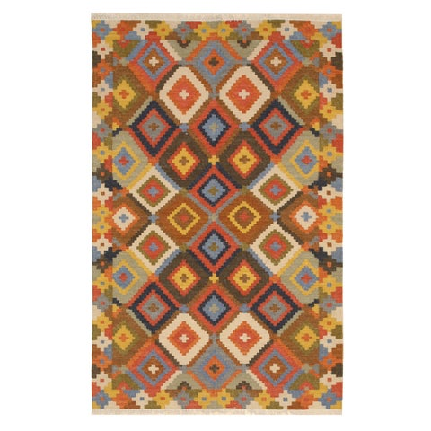 Handmade Wool Multicolored Traditional Geometric Kilim Rug - Multi - 5' x 8'