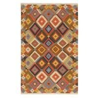EORC Multicolor Wool Geometric Kilim Area Rug - 5' x 8'