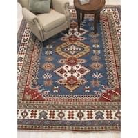 Traditional Geometric Kazak Blue Wool Hand-knotted Rug - 10' x 14'