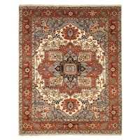EORC Searpi Ivory Wool Hand-knotted Traditional Geometric Rug - 9' x 12'