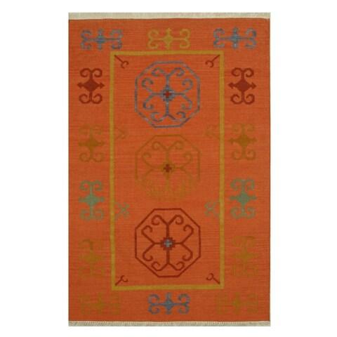 Handmade Wool Rust Traditional Oriental Reversible Suzani Kilim Rug - 12' x 15'