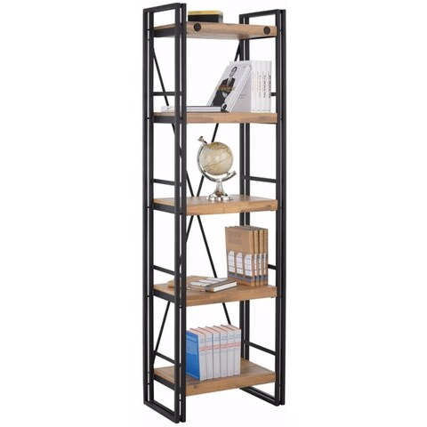 Scandinavian Living Katashi Brown Wood and Metal Narrow 5-shelf Bookcase