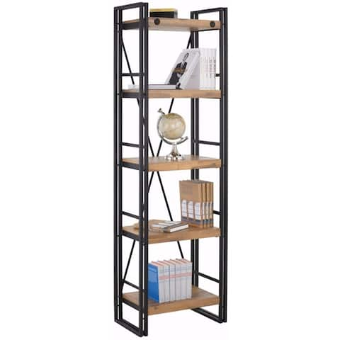 Katashi Acacia Wood and Metal Narrow 5-shelf Bookcase
