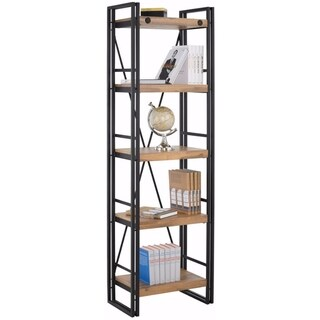 Scandinavian Living Katashi Brown Wood and Metal Narrow 5-shelf Bookcase