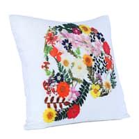 Brooklyn Industries - Skull of Flowers Organic Cotton Throw Pillow