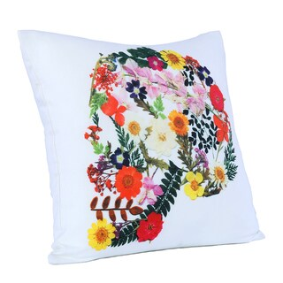 Brooklyn Industries - Skull of Flowers Organic Cotton Throw Pillow