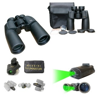 Cassini C-P7IL 7x50mm Wide-Angle Water and Fog Proof Binocular with Green Laser Illuminator
