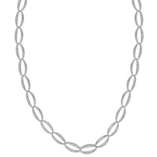 Finesque Sterling Silver 1/2ct TW Diamond Link Necklace (I-J, I2-I3)