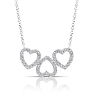 Finesque Sterling Silver Diamond Accent Triple Heart Link Necklace (I-J, I2-I3)