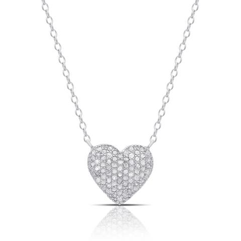Finesque Sterling Silver 1/2ct TW Diamond Heart Necklace (I-J, I2-I3)