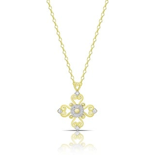 Finesque Gold over Sterling Silver Diamond Accent Cross Necklace (I-J, I2-I3)
