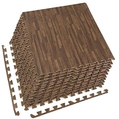 Sorbus Interlocking Floor Mat - Wood Grain Print