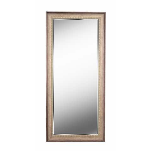 "Somme Antique Gold 66"" Floor Leaner Mirror - 66"" x 30"""
