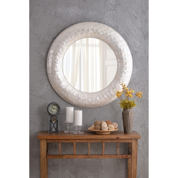 Shop Design Craft Capiz Pearl 34 Wall Mirror On Sale Free