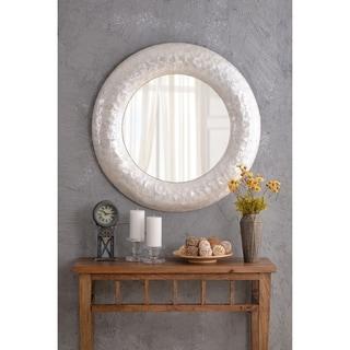 Design Craft Capiz Pearl Seashell 34-inch Round Wall Mirror