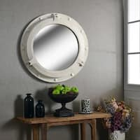 "Starliner Distressed White 34"" Wall Mirror"