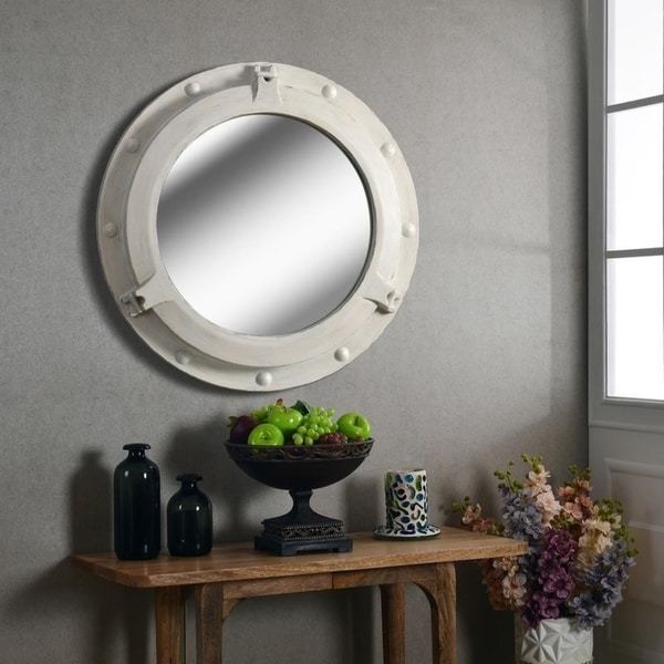 """Starliner Distressed White 34"""" Wall Mirror - 34"""" dia.. Opens flyout."""