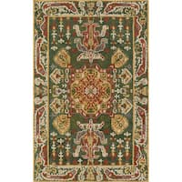 Kasbah Averline Hand-tufted Green/Gold/Multicolored Wool Rug (5'x 8') - 5' x 8'