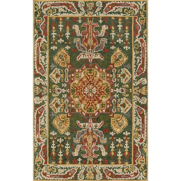 "Averline Green Wool Hand-tufted Kasbah Area Rug (7'6 x 9'6) - 7'6"" x 9'6"""
