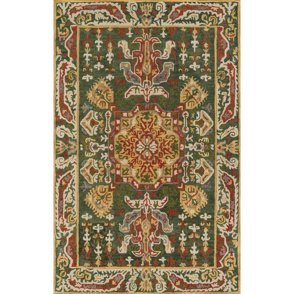 Aveline Hand-Tufted Kasbah Green/Gold Wool Area Rug (8'x 11') - 8' x 11'