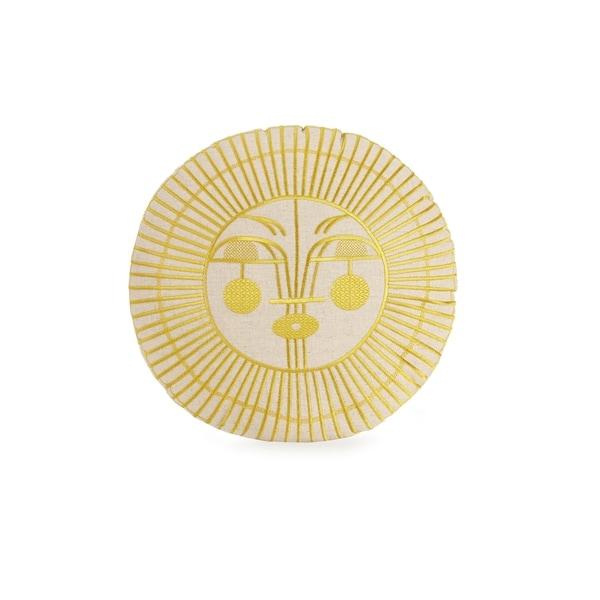 Shop Justina Blakeney Ayo Round Embroidered Decorative Pillow By Unique Round Yellow Decorative Pillow