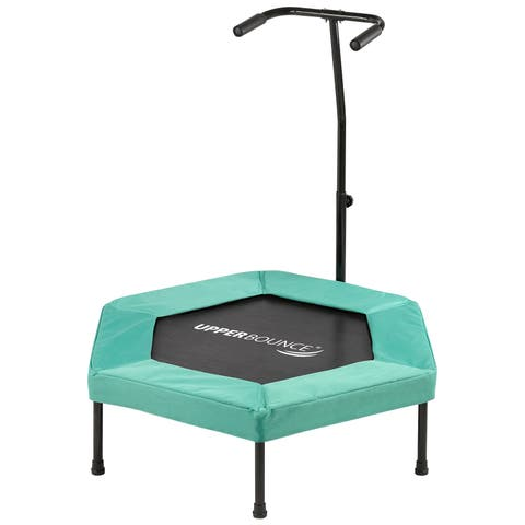 """Upper Bounce 40"""" Hexagonal Fitness Mini-Trampoline - T-Shaped Adjustable Hand Rail - Bungee Cord Suspension - Green"""