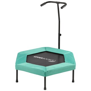 Upper Bounce 40 Hexagonal Fitness Mini-Trampoline - T-Shaped Adjustable Hand Rail - Bungee Cord Suspension - Green