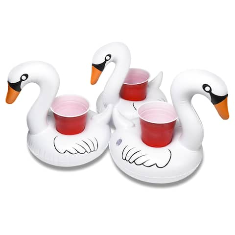 GoFloats Inflatable Swan Drink Holder (3 Pack), Float your drinks in style