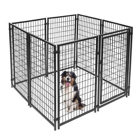 ALEKO Black Steel Chain Link Dog Kennel/Pet Playpen